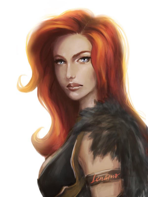 Commission: Redhead by LenamoArt
