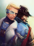 Commission: Soldier 76 and McCree by LenamoArt