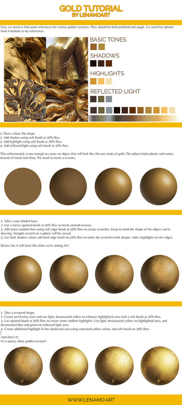 How to paint gold - tutorial by LenamoArt