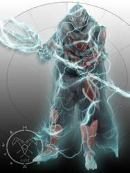 Iron Warframe Hunter armor Arc Trident by Hellmaster6492