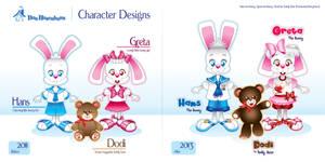 Das Hasenhaus - Character Design Comparision by bunnyfriend