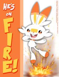 He's On Fire! - Scorbunny by bunnyfriend