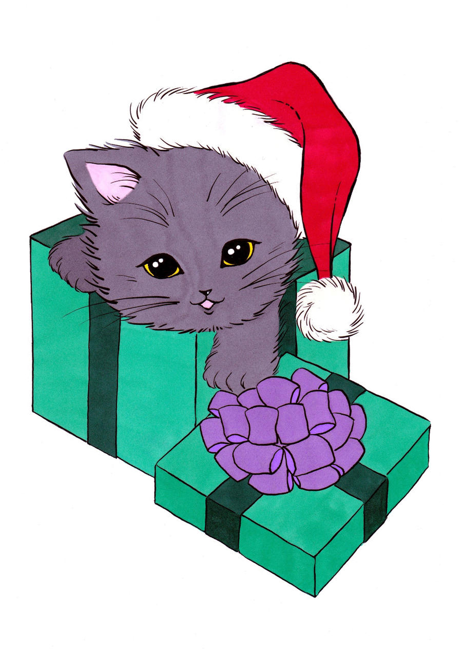 Christmas Kitten Colored