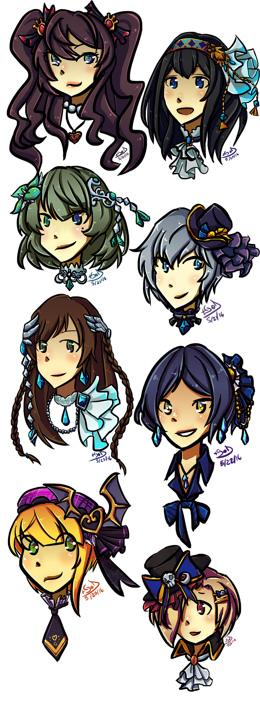 I doodled a bunch of deresute SSRs