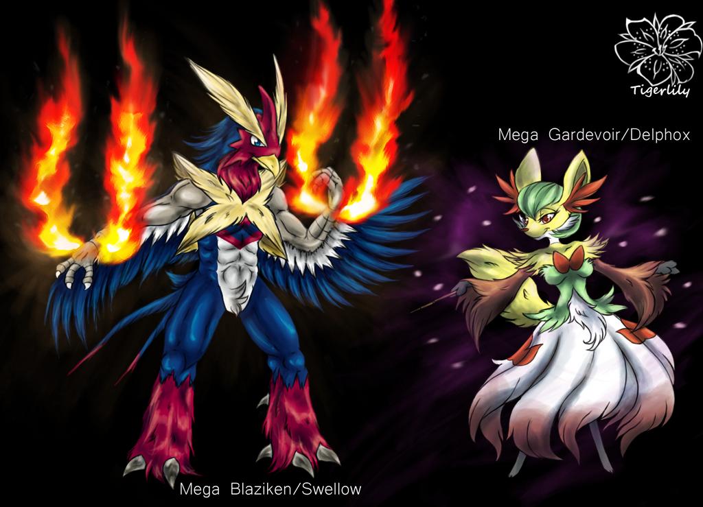 Fusions MegaBlaziken/Swellow MegaGardevoir/Delphox by tigersylveon