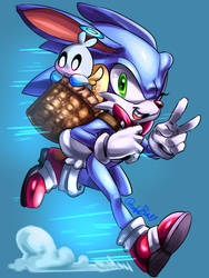 Sonic Easter Bunny by DreamfulBlue