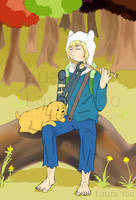 Finn the Human and Jake the Dog by aua1000