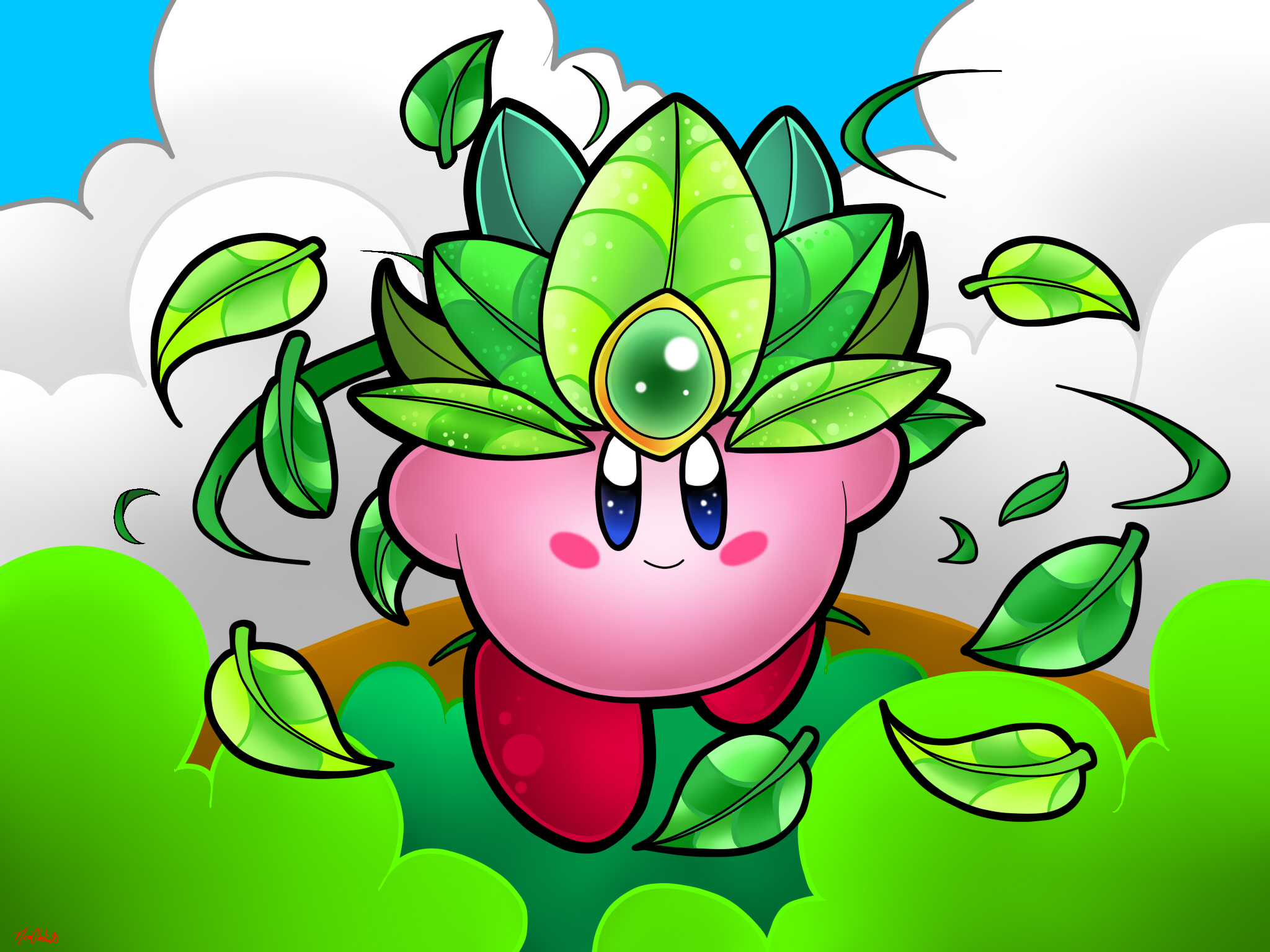 Leaf Kirby by NeonCelestia20