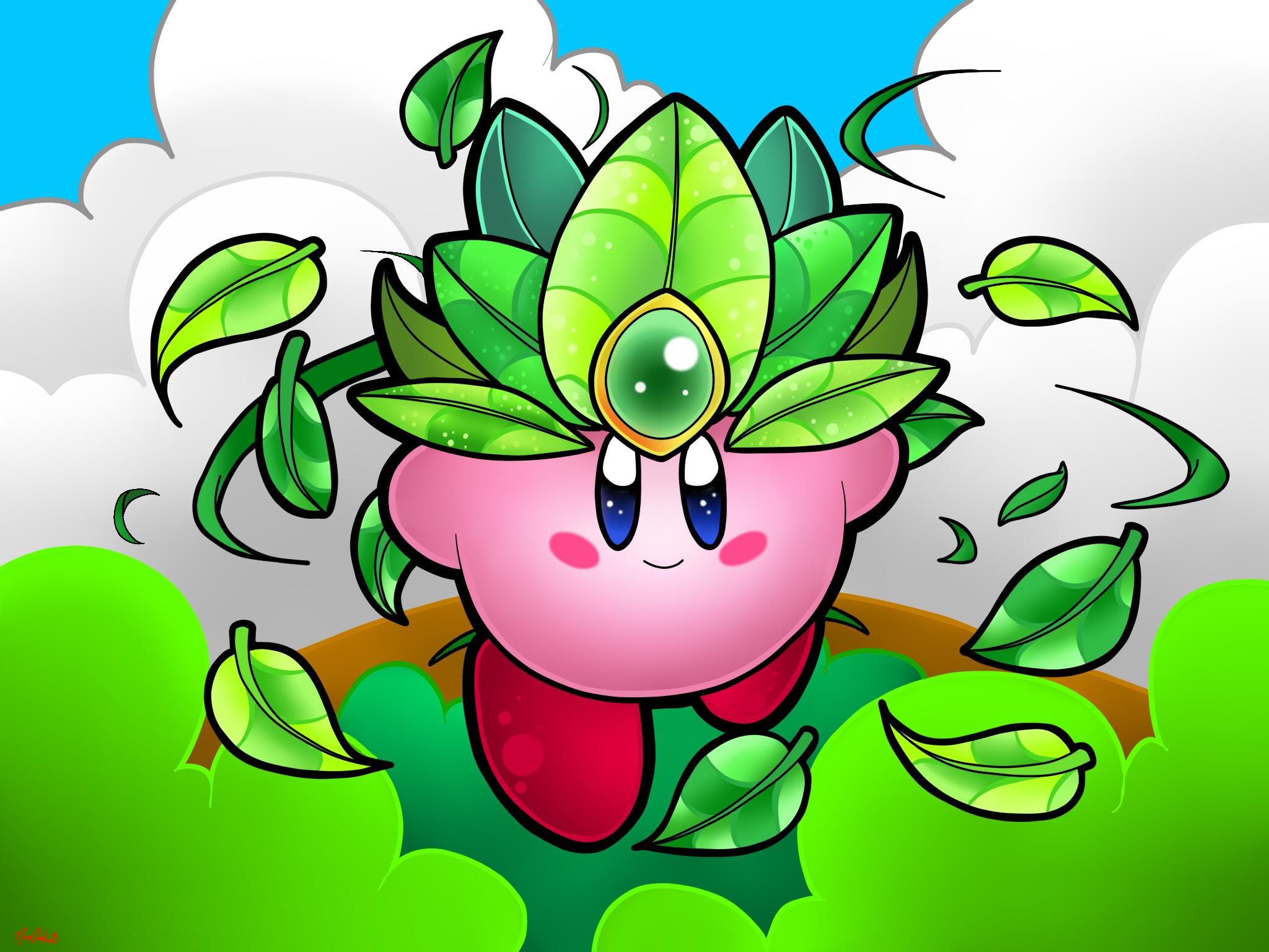 Leaf Kirby by NeonCelestia20