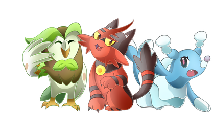 Dartrix, Torracat, and Brionne by NeonCelestia20