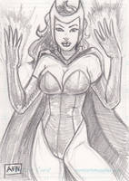 Scarlet Witch Sketch Card by Nortedesigns
