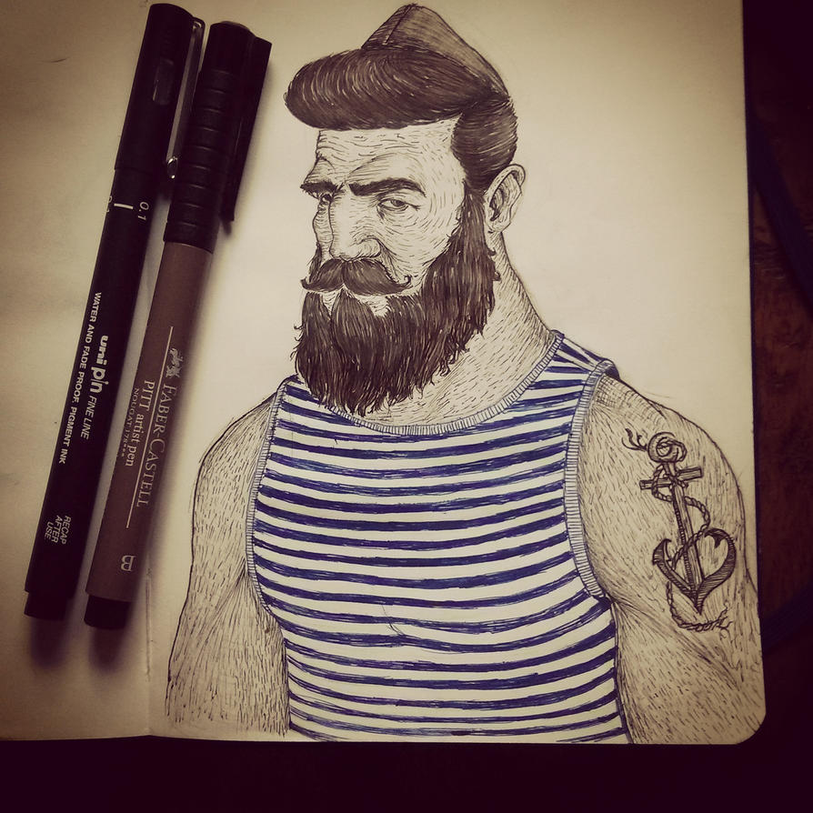 Bearded seaman by AJDragonTamer