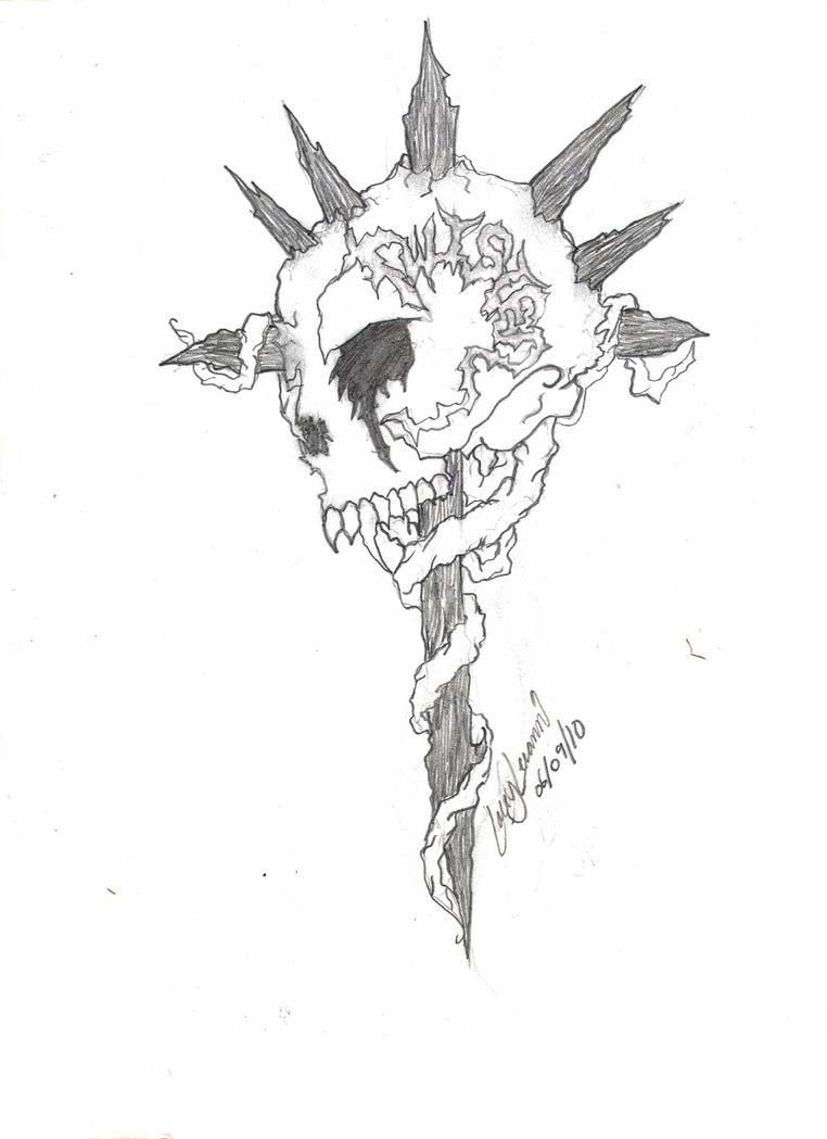 Twisted skull cross tattoo by XSkelletonVampX on DeviantArt Skull And Cross Drawing