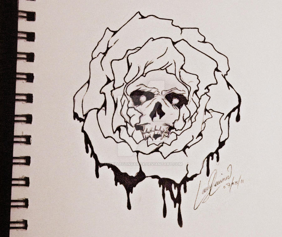 Skull Rose Tattoo By Xskelletonvampx On Deviantart