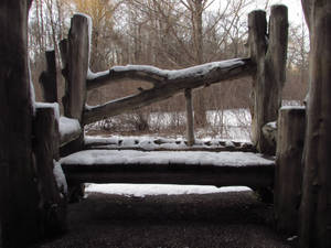 A snow covered bench
