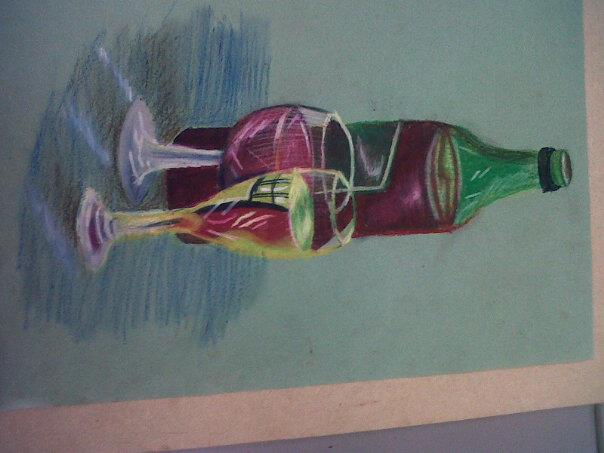 Drawing Glass Bottles With Oil Pastel