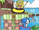 SpongeBob and Sonic at Green Hill Zone by Crash5020