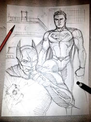 20 Minute Sketch - Batman vs Superman by jessekwe