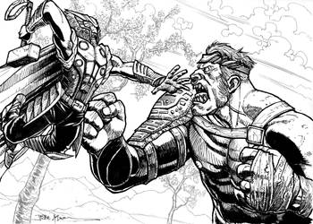 Viking Thor vs Ogre Hulk by jessekwe