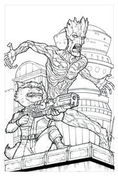 Rocket and Groot Inks by jessekwe