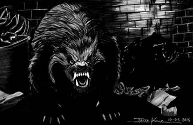 Dralloween/Inktober 2015, Day 5: Werewolf by jessekwe