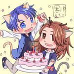 Ganbanyan Celebrating Wisteria's First Birthday