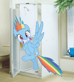 Rainbow Dash shower cam by snakeman1992