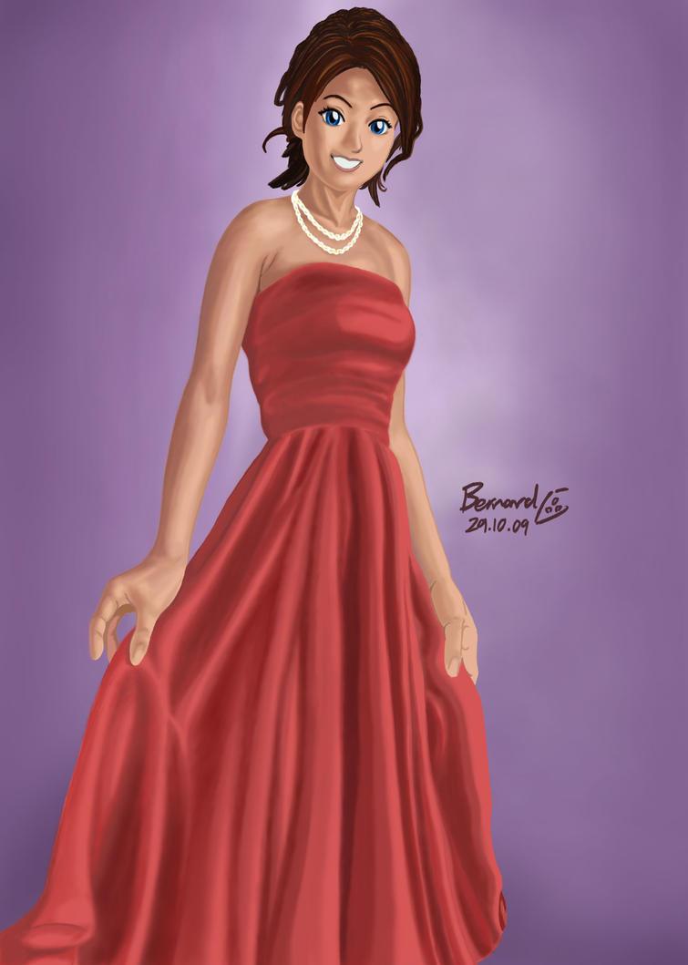 elegant lady in red dress by mangaka aspiration on deviantart. Black Bedroom Furniture Sets. Home Design Ideas