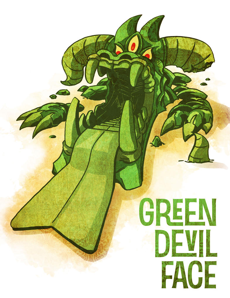 Green Devil Face by mrdestructicity