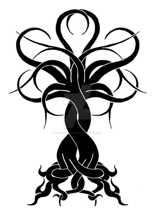 Intertwined Tree: OakCherry BW by VoidQueenElishiva on ...