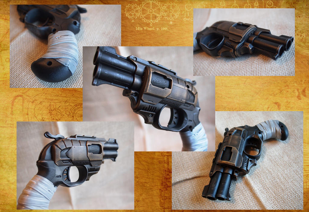 Nerf Doublestrike, Steampunk w/White Grip by KillingjarStudios ...