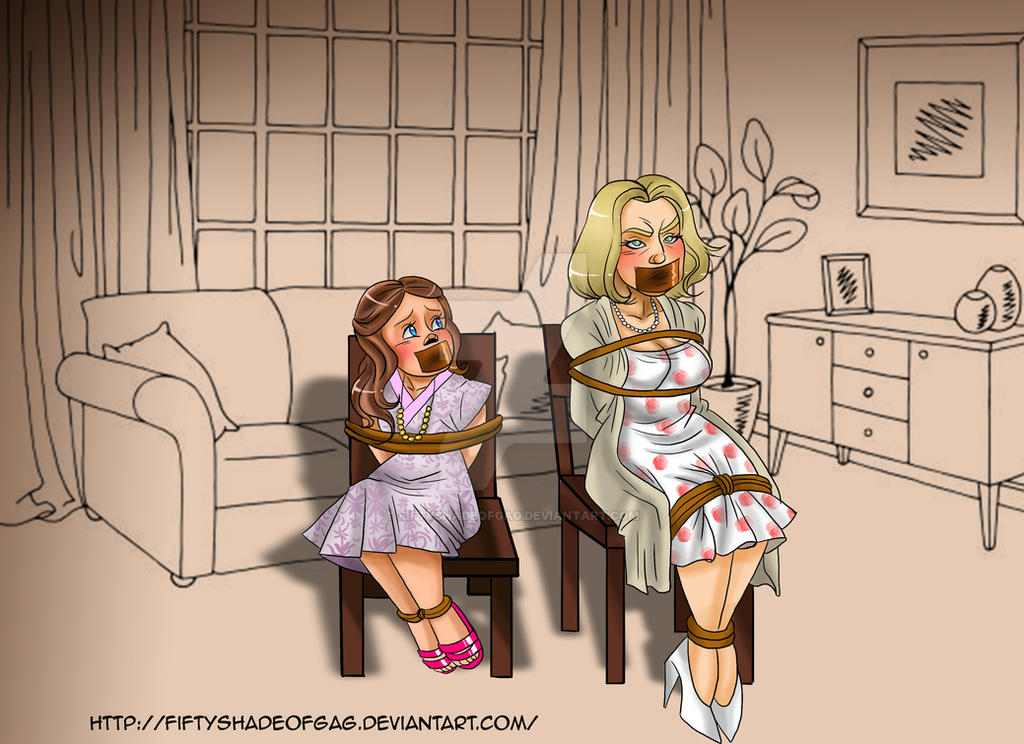 Commission-Mom and daughter chair tied tape gag by fiftyshadeofgag