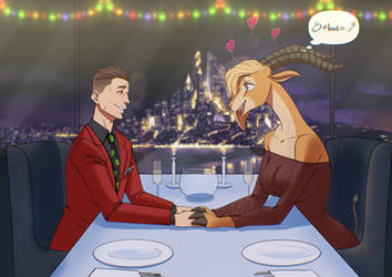 COMMISSION by Zanzagen: Romantic Christmas dinner. by S-NFS
