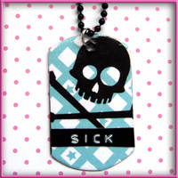 Sick Skull Dog Tag Necklace by wickedland