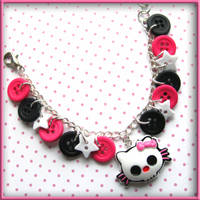 Skull Kitty Button Bracelet by wickedland