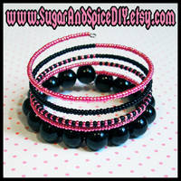 Wrap Rave Bangle Pink Black by wickedland