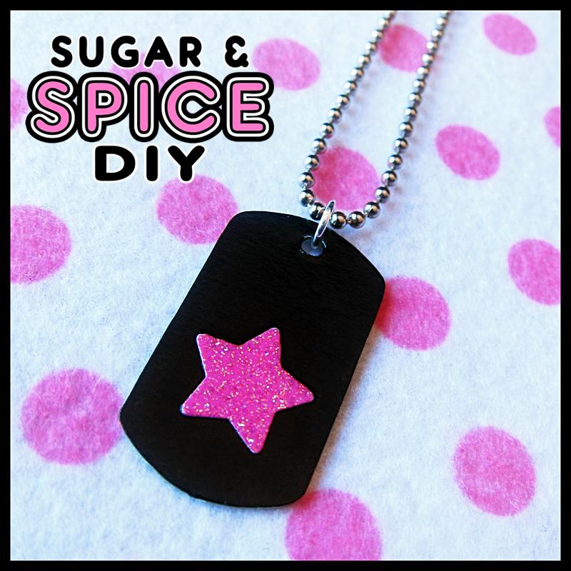 TRIGGER HAPPY Star Mini Dog Tag PUNK Rock Pink by SugarAndSpiceDIY