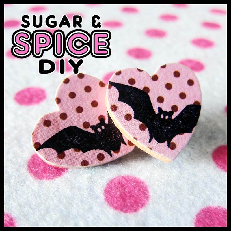 HARD CANDY Bats and Polka Dots Handmade Pin Brooch by SugarAndSpiceDIY