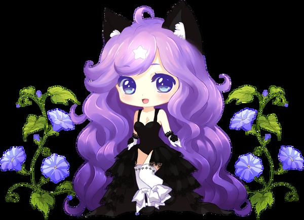 Purple Kitty Flowers by Miiddori