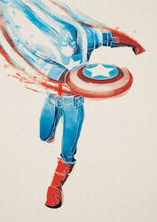 Digital Watercolor - Captain America