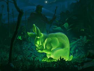 Oryx And Crake- Green rabbit by jason-courtney