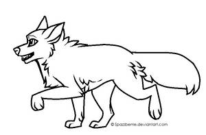 Free trotting wolf lineart MS Paint friendly by Kiterrax