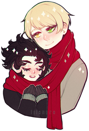 very original picture of couple and only one scarf by lilanero