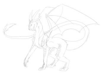 Goat Dragon Sketch by shadow21812