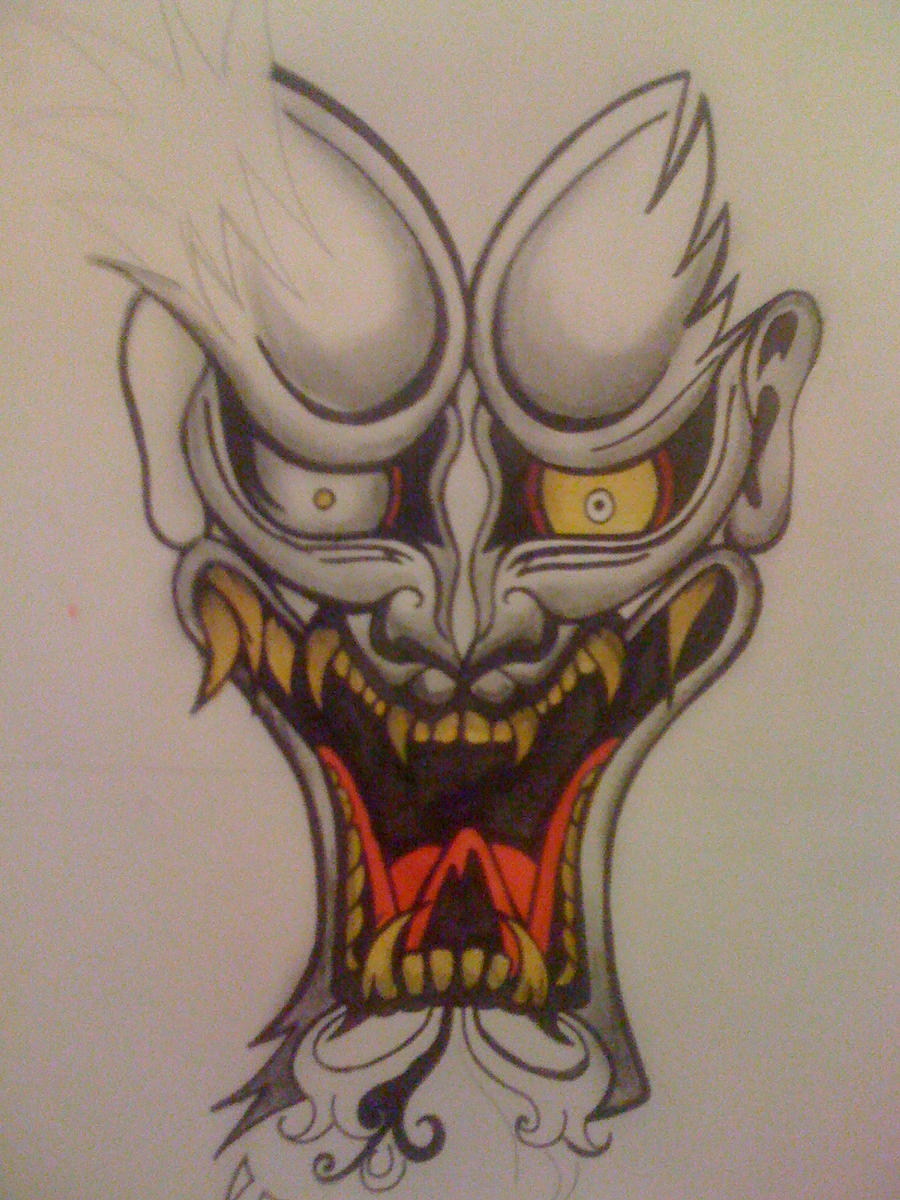 Oni Mask Tattoo: Oni Tattoo Design By CherryRedDead On DeviantArt