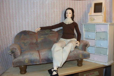 thrift store find - BJD sofa by Jany1982