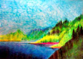 Rocky Mountain lake by John-Baroque by John-Baroque