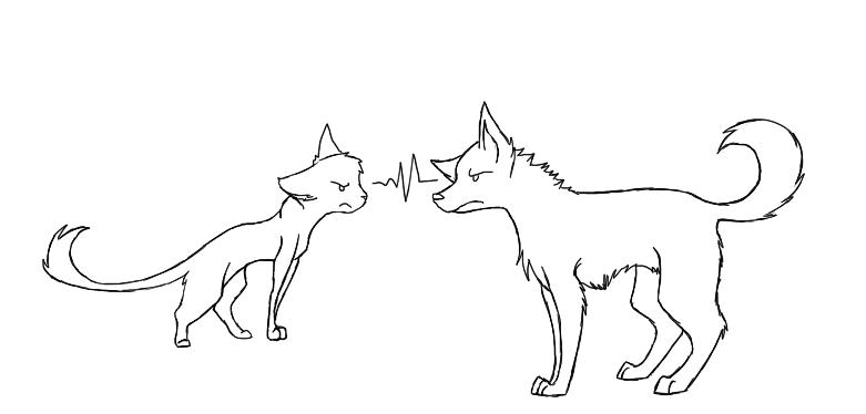 Line Art Vs Painting : Cat v s dog line art by theamazingchair on deviantart