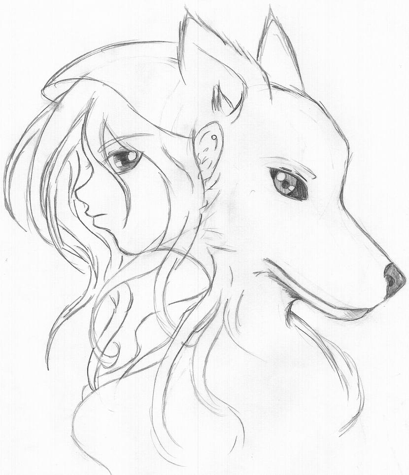 Step By Step, Forest How To Draw A Wolf Girl And Her Wolf Pencil By