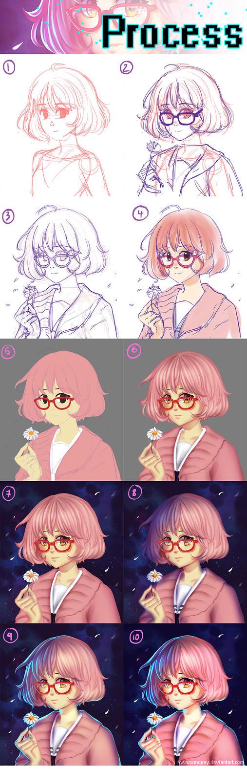 Kuriyama Mirai - Lineless CG Process Steps by Noxmoony